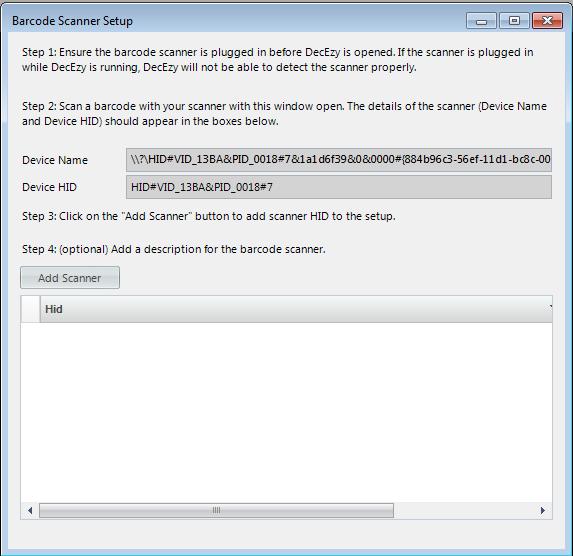 Barode Scanner Setup - Barcode Scanned